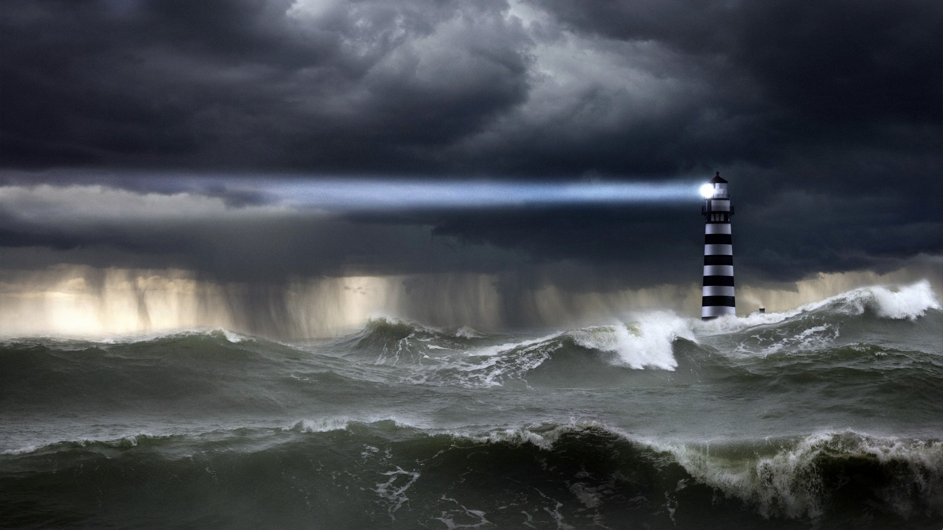 Lighthouse in Storm - Image by © John Lund/Corbis